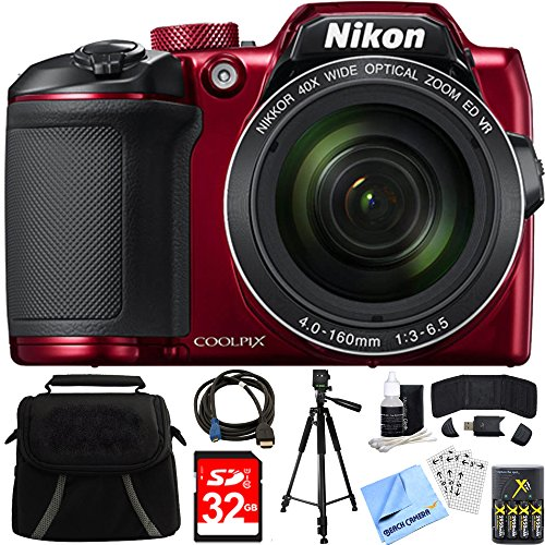 Nikon COOLPIX B500 16MP 40x Optical Zoom Digital Camera 32GB Bundle includes Camera, Bag, 32GB Memory Card, Reader, Wallet, Batteries + Charger, HDMI Cable, Tripod, Beach Camera Cloth and More (Red)