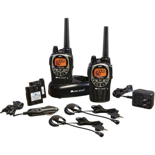 Midland – GXT1000VP4, 50 Channel GMRS Two-Way Radio – Up to 36 Mile Range Walkie Talkie, 142 Privacy Codes, Waterproof, NOAA Weather Scan + Alert (Pair Pack) (Black/Silver)