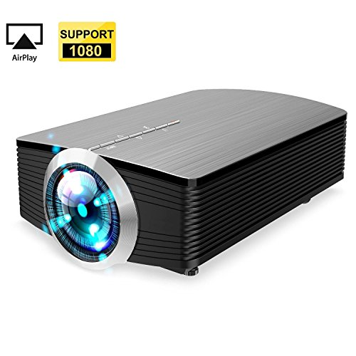 GAOAG Protable Mini Movie Projector Multimedia Home Theater Video Projector LCD 1080P for Home Theatre support HDMI USB SD VGA AV TV Laptop Game iPhone iPad Android Smartphone…