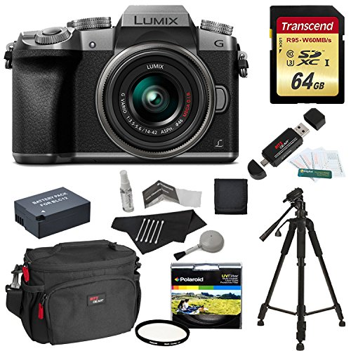 Panasonic DMC-G7KS Digital Single Lens Mirrorless Camera 14-42 mm Lens Kit, 4K + Starter Bundle + Transcend 64 GB High Speed 10 UHS3 + Tripod + Polaroid 46mm UV Filter + Battery + Bag