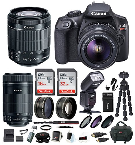 Canon EOS Rebel T6 Digital Camera: 18 Megapixel 1080p HD Video DSLR Bundle With 18-55mm & 55-250mm Lens 48GB SD Card TTL Flash Tripod Bag & Charger – Professional Vlogging Sports & Action Cameras