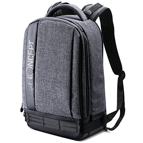 "K&F Concept Professional Camera Backpack Large Size Photography Bag for Canon Nikon Sony DSLR, 13.3"" Laptop,Tripod (Grey)"