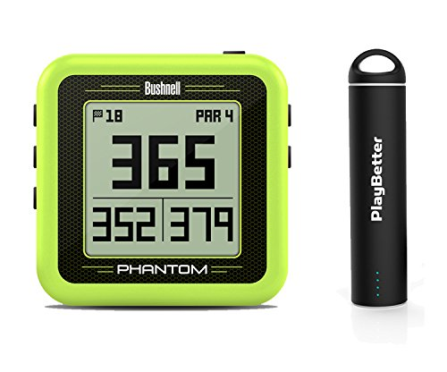 Bushnell Phantom (Yellow) Power Bundle with PlayBetter Portable USB Charger (2200mAh) | Handheld Golf GPS, Built-In Golf Cart Magnet, 35,000+ Pre-Loaded Courses, Compact & Lightweight