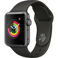 Apple Watch Series 3 (GPS) 38mm Space Gray Aluminum Case with Gray Sport Band, Grey