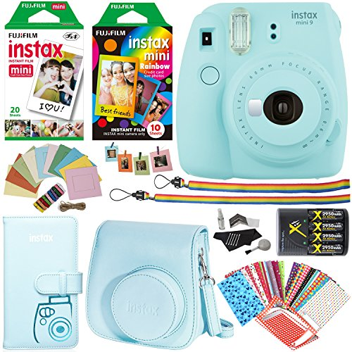 Fujifilm Instax Mini 9 Instant Camera (Ice Blue), 1 Rainbow Film Pack, 2 Single Pack (White) Instant Film, case, 4 AA Rechargeable Battery's with charger, Square Photo Frames & Accessory Bundle