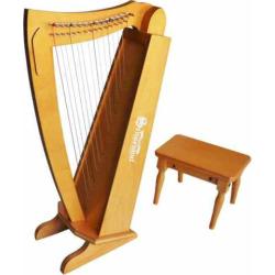 Schoenhut 15-String Harp with Bench, Brown