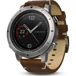 Garmin fenix Chronos GPS Watch with Leather Watch Band, Brown