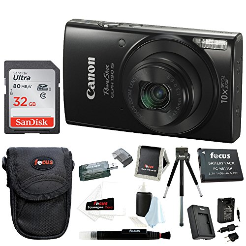 Canon PowerShot ELPH 190 IS 20 MP Digital Camera (Black) w/32GB Accessory Bundle