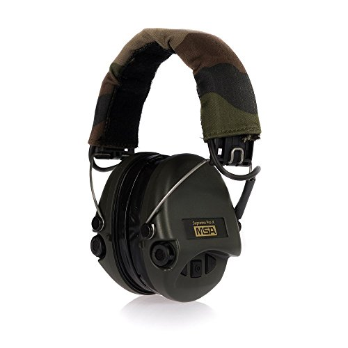MSA Sordin Supreme Pro X – Premium Edition – Electronic Earmuff with camo-band, green cups and gel seals fitted