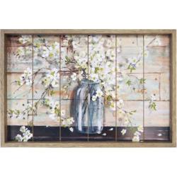 New View Planked Farmhouse Mason Jar Flower Framed Wall Art, Blue