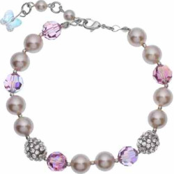 Crystal Avenue Silver-Plated Simulated Pearl and Crystal Bracelet – Made with Swarovski Crystals, Women's, Size: 7″, Purple