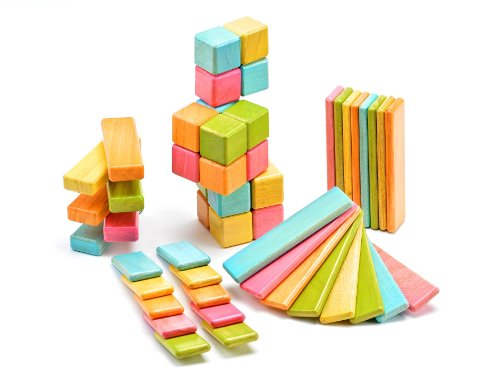 Tegu 52 Piece Original Magnetic Wooden Block Set, Tints