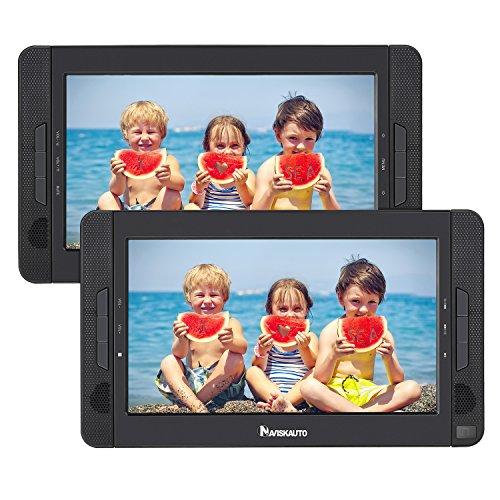 NAVISKAUTO 10.1″ Dual Screen DVD Player Ultra-thin Car Backseat Headrest Portable DVD Player-Black 114B