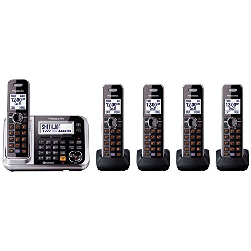 Panasonic KX-TG7875S Link2Cell Bluetooth Cordless Phone with Enhanced Noise Reduction & Digital Answering Machine – 5 Handsets, Black/Silver