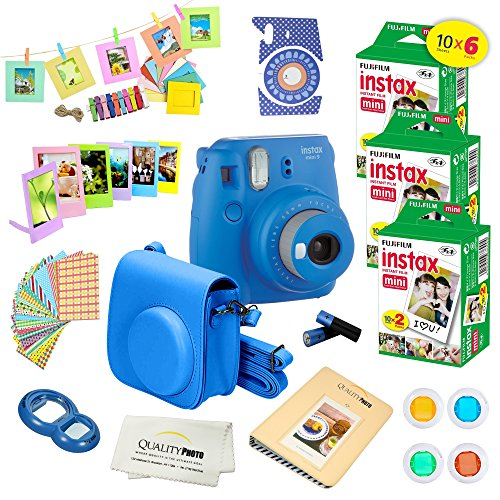 Fujifilm Instax Mini 9 Instant Camera COBALT BLUE w/ Fujifilm Instax Mini 9 Instant Films (60 Pack) + A14 Pc Deluxe Bundle For Fujifilm Instax Mini 9 Camera