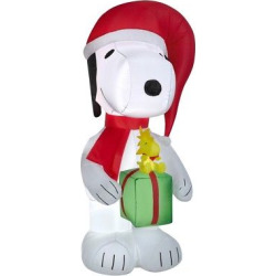 Peanuts 6ft Inflatable Snoopy Holding Present with Woodstock, Multi-Colored
