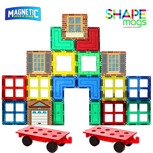 Shapemags 54 Piece Accessories Set, Made With Power+Magnets, 42 Clear Color Tiles, Includes 12 Stile Mags 2 and Car Bases
