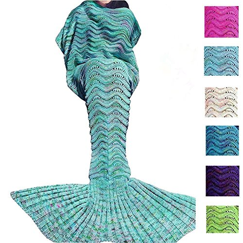 Fu Store Mermaid Tail Blanket Crochet Mermaid Blanket for Adult, Super Soft All Seasons Sofa Sleeping Blanket, Cool Birthday Wedding Christmas, 71 x 35 Inches, Mint Green