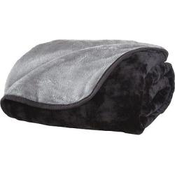 All Seasons Reversible Plush Blanket (King) Black/Gray, Black & Gray