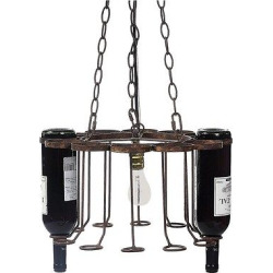 Metal Chandelier – Holds 12 Empty Bottles, Bronze