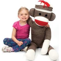 Schylling Jumbo Sock Monkey Stuffed Animal, Multicolor