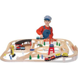 Melissa and Doug Wooden Railway Set, Multicolor