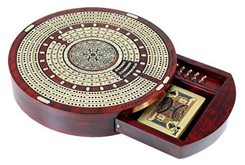 House of Cribbage – Round Shape 4 Tracks Continuous Cribbage Board Bloodwood / Maple with Push Drawer & place for Skunks, Corners & Won Games