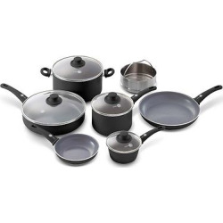 GreenPan Soft Grip 11pc Set Ceramic Non Stick Cookware Set Black