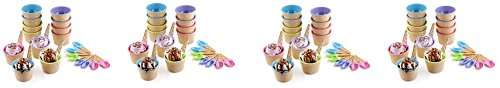 Greenco Vibrant Colors Ice Cream Dessert Bowls and Spoons (Set of 12) (4-Pack)