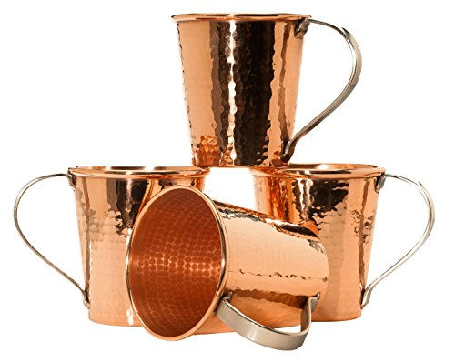 Sertodo Copper CMM-18-4 Moscow Mule Mug Set, Hand Hammered 100% Pure Copper, 20 oz, Set of 4