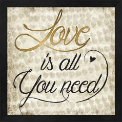 "Metaverse Art ""Love Is All You Need"" Framed Wall Art, Black"
