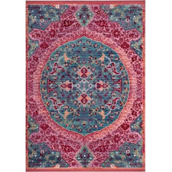 4'X6′ Loomed Accent Rug Turquoise/Fuchsia (Turquoise/Pink) Medallion – Safavieh