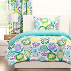 Crayola Pointillist Pansy Comforter and Shams – Paradise Teal (Full/Queen), Blue