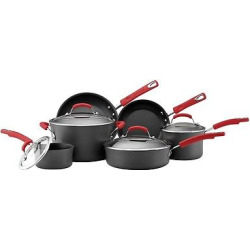 Rachael Ray Hard Anodized Nonstick 10 Piece Cookware Set – Red Handles, Orange & Black