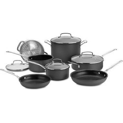 Cuisinart Chef's Classic Nonstick Hard Anodized 11 Piece Cookware Set w/cover – 66-11, Black