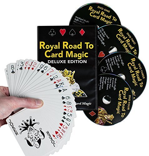 Magic Makers Royal Road to Card Magic Deluxe Magic Training – Complete Set Including a Delands Marked Deck – Over 100 Card Trick Effects From Beginner to Expert Skill Levels