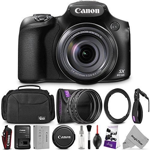 Canon PowerShot SX60 HS Digital Camera w/Essential Photo and Travel Bundle – Includes: Altura Photo Shoulder Bag, UV-CPL-ND4, 67mm Lens Adapter Ring, Camera Cleaning Set