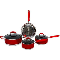 Gourmet Chef 7 Piece Induction Ready Non Stick Cookware Set – Red