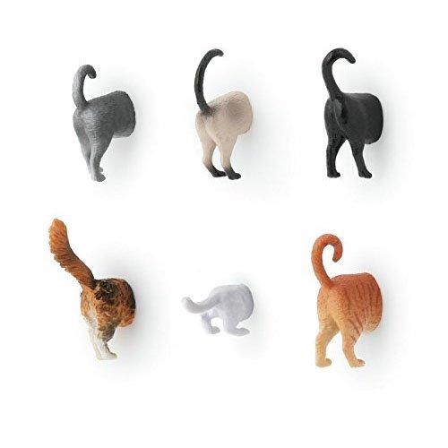 Kikkerland Cat Butt Magnets, Set of 6 (MG53)