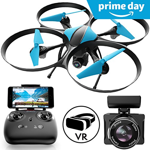 "Force1 Drones with Camera – ""U49W Blue Heron"" WiFi FPV Drone with Camera Live Video with Drone Camera + Camera Drone Bonus Battery"
