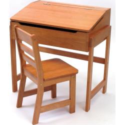 Lipper Children's Slanted Desk and Chair Set, Brown