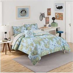 Blue & Green Buon Viaggio Reversible Bedding Set (Full/Queen) – Waverly Kids