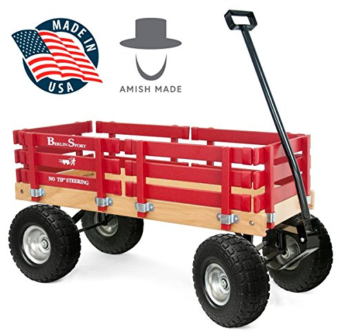 Berlin Red Wagon for Kids – Made In the USA – Hardwood & Reinforced Steel Body, Rubber Tires | No-Pinch Handle & No-Tip Steering F410 Sport Wood Wagon