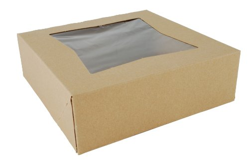Southern Champion Tray 24013K Kraft Paperboard Window Bakery Box, 8″ Length x 8″ Width x 2-1/2″ Height (Case of 200)