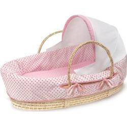 Badger Basket Natural Hooded Moses Basket – Dots, Pink