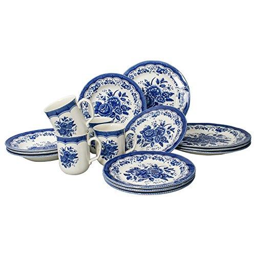Tudor 16-Piece Porcelain Dinnerware Set, Service for 4 – VICTORIA BLUE, 10 Designs Inside!