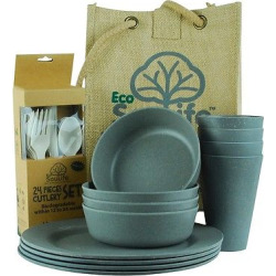 EcoSouLife Bamboo Picnic Set for 4 – Charcoal (Grey)