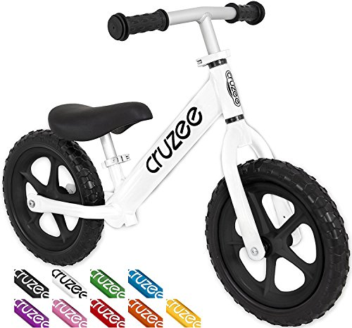 Cruzee UltraLite Balance Bike (4.4 lbs) for Ages 1.5 to 5 Years | Best Sport Push Bicycle for 2, 3, 4 Year Old Boys & Girls – Toddlers & Kids Skip Tricycles on the Lightest First Bike – BW White