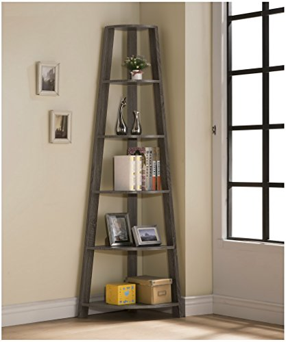 weathered grey finish wood wall corner 5 tier bookshelf bookcase accent etagere - Allshopathome-Best Price Comparison Website,Compare Prices & Save