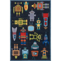 Robots Rug, Blue, Rugs